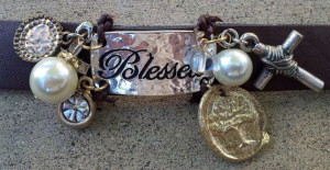 Blessed Leather Cuff Bracelet Quote Charm Bracelet etsy.com/shop ...