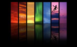 Disney Rainbow Skies and Peter Pan wallpaper