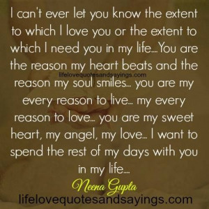 you in my life….You are the reason my heart beats and the reason my ...