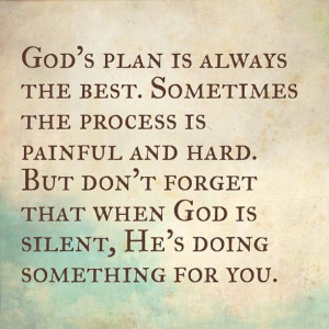 God's plan is always the best. Sometimes the process is painful and ...