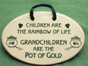 Irish saying on ceramic plaque. Children are the rainbow of life ...
