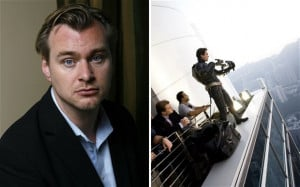 Christopher Nolan in 2008, and with Christian Bale on the set of The ...