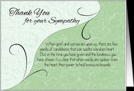 Thank You Sympathy Card - Pastel Green with Vintage Scrolls card ...
