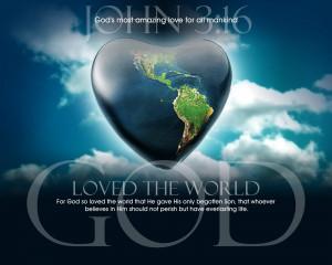 Bible Verses Love John 3:16 Heart In Sky HD Wallpaper