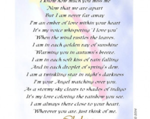 ... and Mommy, From Your Angel' Keepsake Poem Print for Father and Mother