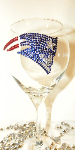 New England Patriots Rhinestone Wine Glass #home #glass www ...