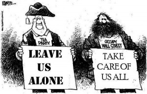 Tea Party V.S. Occupy Wall Street Cartoon
