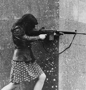 IRA fighter fires an AR18 at Pro-British troops during skirmishes in ...