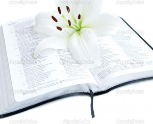 Easter Lily And Bible Stock...
