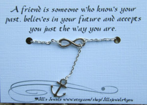 Infinity and Anchor Charm Anklet and Quote by JillsJewels4You, $13.00