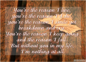 you re the reason i live you re the reason i d die you re the reason i ...