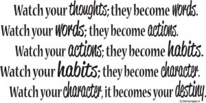 Actions Habits Character Destiny Inspirational Quote- Motivational ...