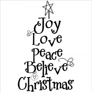 Christmas Tree Words vinyl lettering home wall decal decor art quote