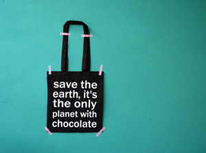 quote bag - black shoppingbag - save the earth it's the only planet ...