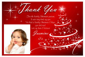 10 Personalised Red Glitz Tree Christmas Thank You PHOTO Cards