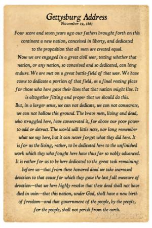 Gettysburg Address Full Text Plastic Sign Wall sign
