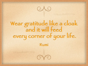 Wear gratitude like a cloak and it will feed every corner of your life ...