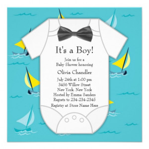 baby boy shower invitation this cute yellow and blue sailboat baby ...