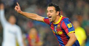 Xavi goal celeb Barcelona v Real Madrid El Clasico