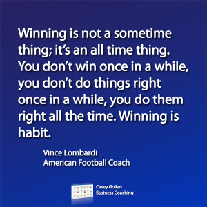 Vince Lombardi Motivational Quote. Winning Is Habit.