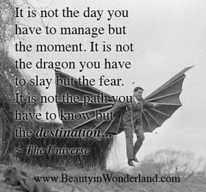 have to manage but the moment. It is not the dragon you have to slay ...