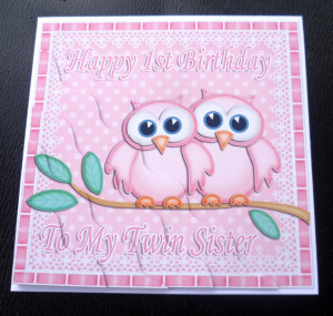 Happy-1st-Birthday-To-My-Twin-Sister-Owls-Card-pink-or-pink-blue