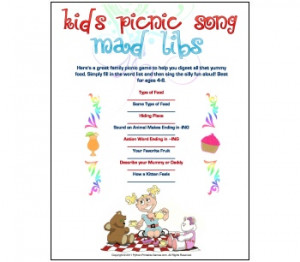 Picnic Mad Libs Song Game For Kids - buy at Python