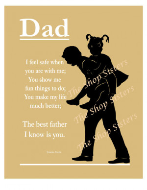 Dad Father Daughter Father's Day Poem Silhouette Black 8x10 Wall Art ...