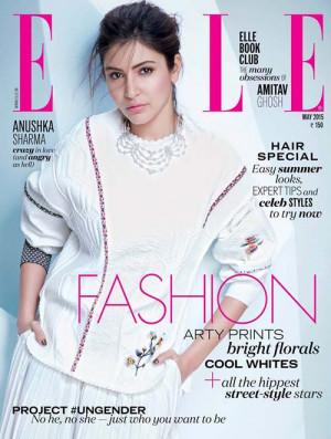 ANushka Sharma on the cover page of Elle India magazine May 2015