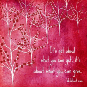 It's about giving