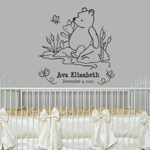Classic Winnie the Pooh and Piglet monogram baby quote vinyl wall ...