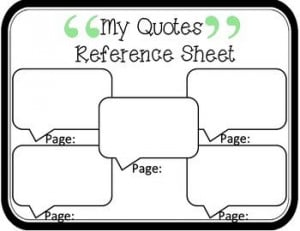 My Quotes Reference Sheet: Common Core Aligned --great visual graphic ...