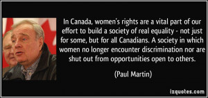 , women's rights are a vital part of our effort to build a society ...