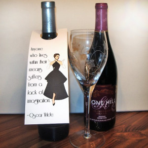 Wine Bottle Tags with Oscar Wilde Quotes