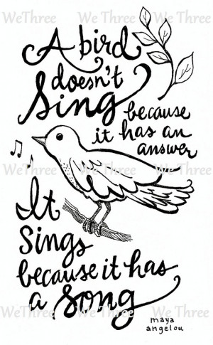 Home Decor - Illustrated quote - Maya Angelou - Bird Sing Song, Ink ...