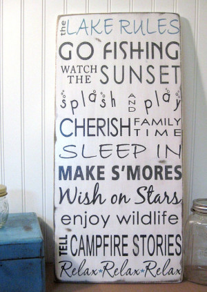 NEW -Lake House Cottage Rules -Vintage Style- Typography Sign