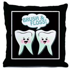 Funny Dentist Office Throw Pillow for