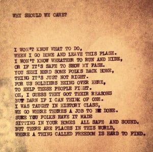 ... should we care? – A poem by an American soldier in Vietnam. May 1968