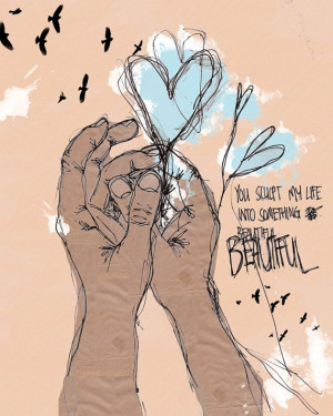 Hands Sketch Heart Quote - Wall Art Print - Blue and Neutral - Home ...