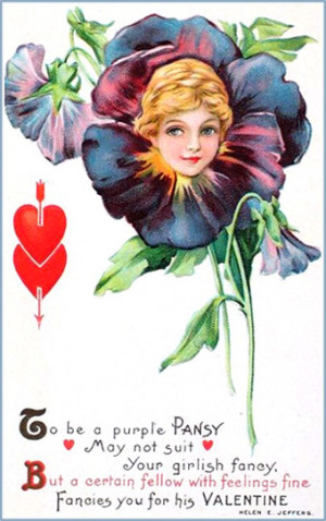 Woman's head inside a flower, a purple pansy. Beautiful Valentines Day ...