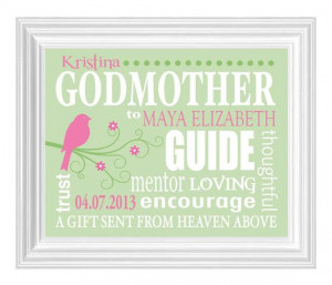 GODMOTHER Gift - Gift from Godchild - Personalized Print for Godmother ...