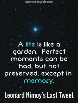 life is like a garden. Perfect moments can be had, but not preserved ...