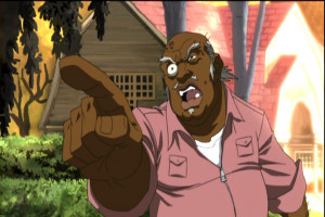 Uncle Ruckus plays a sad song on his violin for the poor displaced ...
