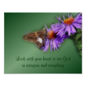 Butterfly See God Inspirational Quote Nature Poster