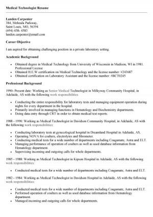 Medical Technologist Resume Sample