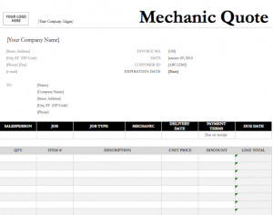 ... preview of this free Mechanic Quote Template created using MS Excel