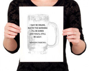 Winston Churchill Beer Mug Drinking Quote Print (Black and White Home ...