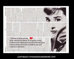 AUDREY HEPBURN art print Breakfast at Tiffany's I Believe quote ...