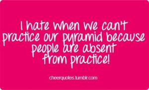 ... absent from practice! #cheerquotes #cheerleading #cheer #cheerleader