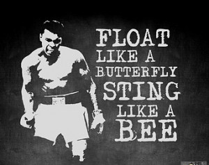 Butterfly, Sting like a Bee. Muhammad Ali Wall Fitness Decal Quote ...